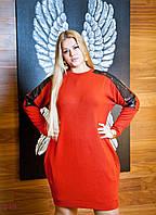 Платье Мадрид - зима (54 размер, кирпичный) ТМ «PEONY»