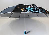 """Женский зонт полуавтомат цветочный рисунок с пропиткой серебро от """"Max Komfort"""""""