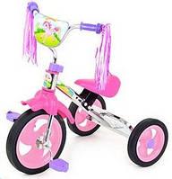 Детский трёхколёсный велосипед M 1658 розовый, мягкое сиденье