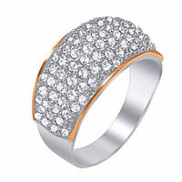 Серебряное кольцо Руанда с золотыми вставками и цирконием 000042798