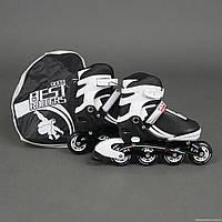 """Ролики 9003 """"L"""" Best Rollers цвет-БЕЛО-ЧЕРНЫЙ /размер 39-42/ (6) колёса PU, без света, в сумке, d=7 см"""