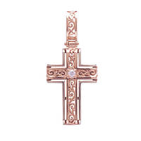 Золотой крест Воспевание с фианитом 000043110