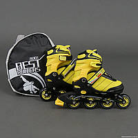 """Ролики 8901 """"S"""" Best Rollers цвет-ЖЁЛТЫЙ /размер 31-34/ (6) колёса PU, без света, в сумке, d=6.4 см"""