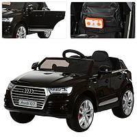 Детский электромобиль джип Audi Q7 M 3231-2 EBLR черный, кожаное сиденье и мягкие колеса, фото 1
