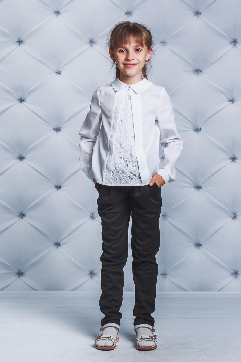 Школьная блузка для девочки гипюр белая