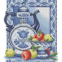 Схема для вышивания бисером Гжель и яблоки БИС3-56 (А3)