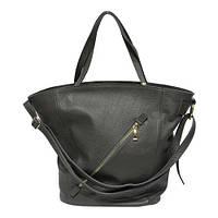 Женская  сумка из натуральной кожи фабричная (отшита  в Италии) серого цвета, на две ручки