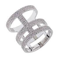Серебряное кольцо Корсет с цирконием 000044642