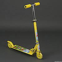 """Самокат 3201 / 779-54 жёлтый """"Пеппе"""" (10) 2 колеса PVC, свет, d-9.5см., металлический, в кор-ке"""