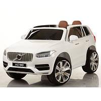 Детский электромобиль джип Volvo M 3278 EBLR-1 белый, кожаное сиденье и мягкие колеса