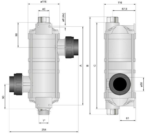 Габаритные размеры теплообменника для бассейна Pahlen Hi–Temp HTT 75