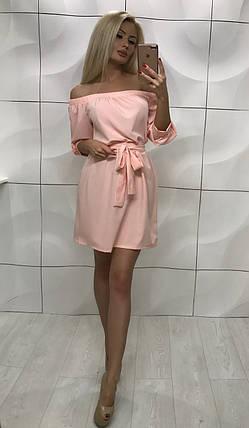 Летнее короткое платье с открытыми плечами ft-1008 розовое, фото 2