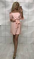 Летнее короткое платье с открытыми плечами ft-1008 розовое