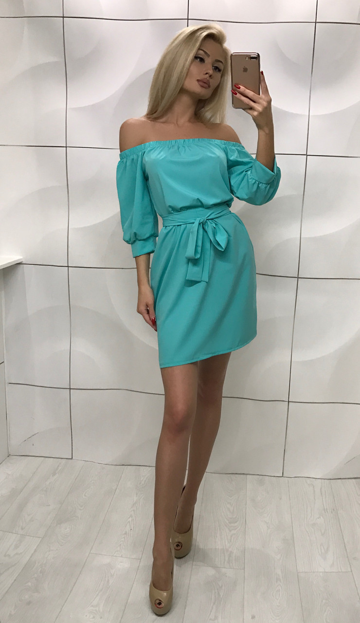 Летнее короткое платье с открытыми плечами ft-1008 бирюзовое