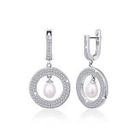 Серебряные сережки с жемчугом и цирконием Элси 000024620  размера