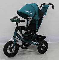 Детский трехколесный велосипед T-362 Camaro с фарой и надувными колесами, Темно-Зеленый