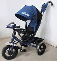 Детский трехколесный велосипед T-362 Camaro с фарой и надувными колесами, Темно-Синий