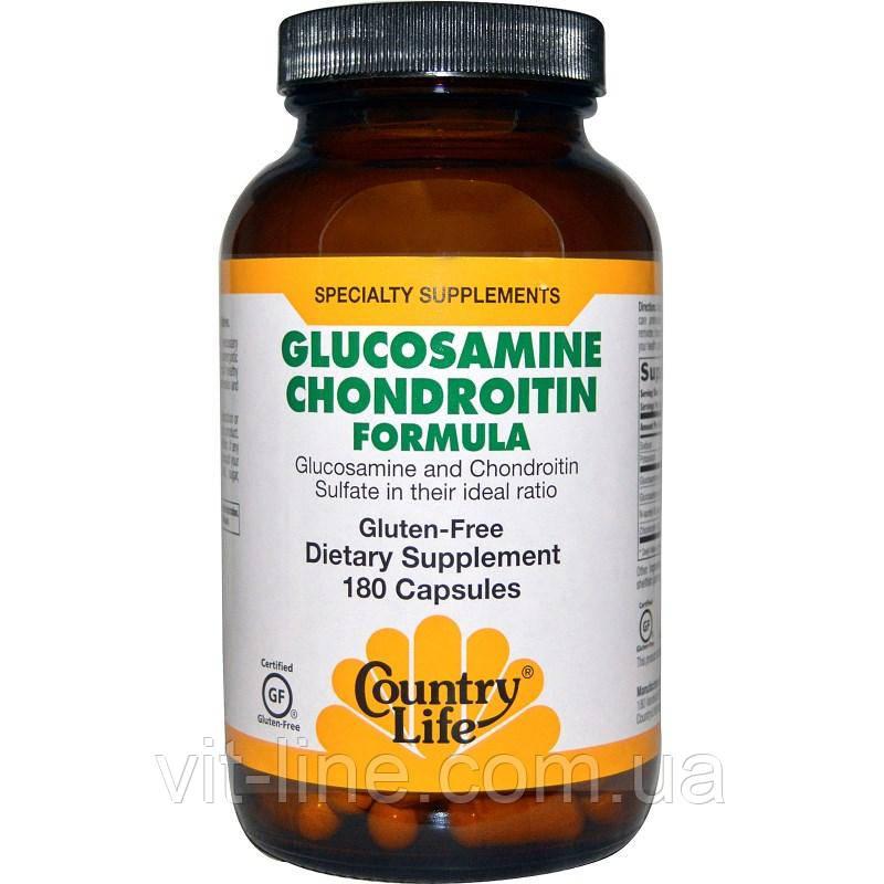 Country Life, Состав с глюкозамином и хондроитином, 180 капсул