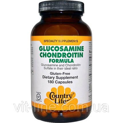 Country Life, Состав с глюкозамином и хондроитином, 180 капсул, фото 2