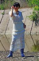 Летнее макси платье из гипюра и хлопковой пряжи