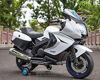 Детский мотоцикл на аккумуляторе с мягкими колесами Белый