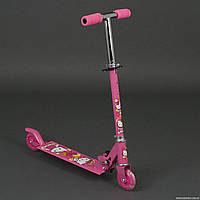 """Самокат 3201 / 779-54 розовый """"Хело Кити"""" (10) 2 колеса PVC, свет, d-9.5см., металлический, в кор-ке"""