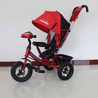 Детский трехколесный велосипед T-362 Camaro с фарой и надувными колесами,красный