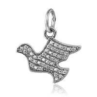 Серебряный подвес - шарм с фианитами Птица счастья 000025107