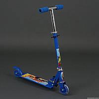 """Самокат 3201 / 779-54 синий """"Хот Вилс"""" (10) 2 колеса PVC, свет, d-9.5см., металлический, в кор-ке"""