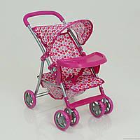 Коляска 9304 BW-T (4) 2 цвета, летняя+корз.+стол для бут. роз.колеса, ткань клубничка, в коробке