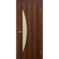 Дверное полотно Омис Парус с матовым стеклом, экошпон цвет Орех