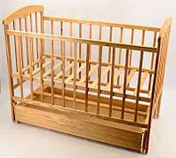 Кроватка деревянная детская маятник+шухляда Наталка светлый ясень