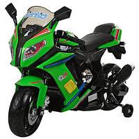 Детский электрический мотоцикл M 2769 EL-5 черно-зеленого цвета, кожаное сиденье и мягкие колеса