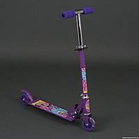 """Самокат 3201 / 779-54 фиолетовый """"Пони"""" (10) 2 колеса PVC, свет, d-9.5см., металлический, в кор-ке"""