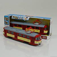 Трамвай 9708 D (24) подсветка, звук, открываются двери, инерция, в коробке
