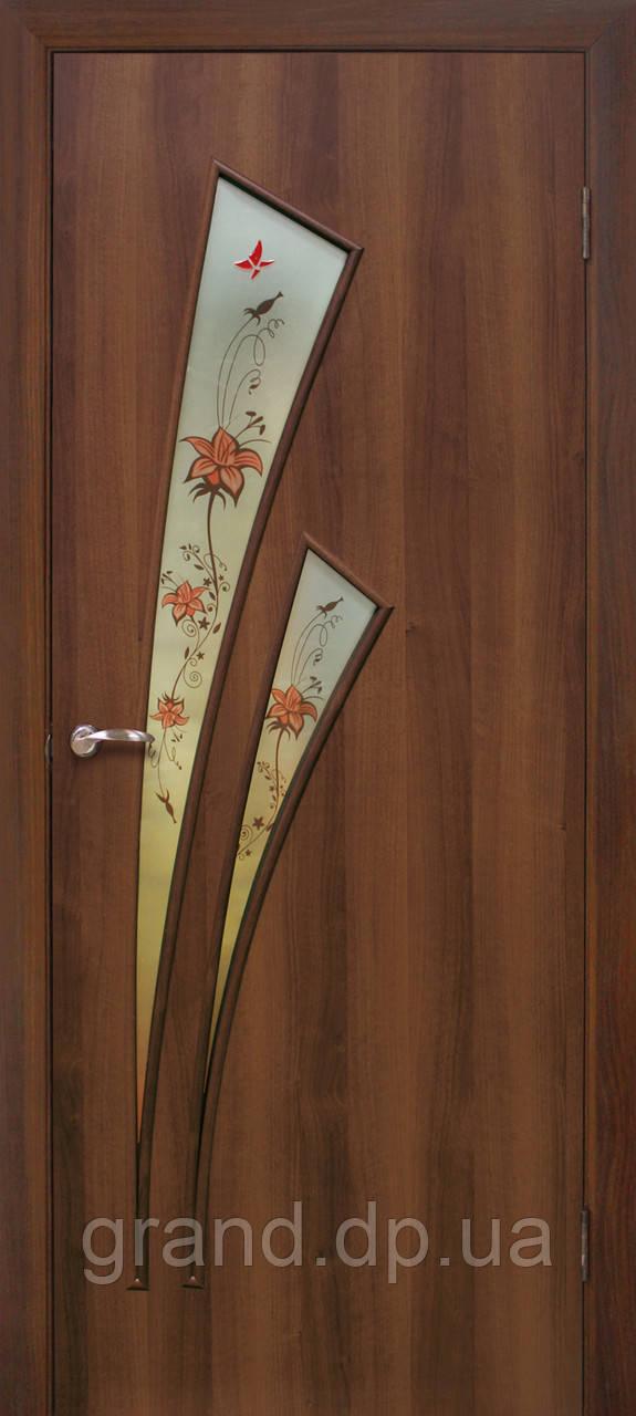 """Дверь межкомнатная остекленная с рисунком """"Триумф ФП+Ф экошпон""""орех"""