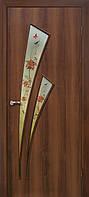 Двери межкомнатные Омис  Триумф ФП+Ф экошпон  с матовым стеклом и фотопечатью, цвет орех