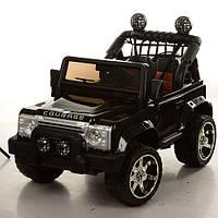Двухместный детский электромобиль Джип M 3157 EBLR-2 черный, мягкие колеса и кожаное сиденье