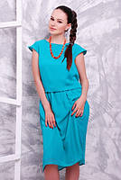 Легкое и воздушное однотонное платье из шифона, подкладка также из шифона, р. 48-50 код 3410М