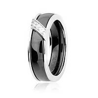 Серебряное кольцо с керамикой и фианитами Модерн 000025488