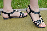 Босоножки, сандали женские на резинке черные искусственная кожа, подошва полиуретан 2017