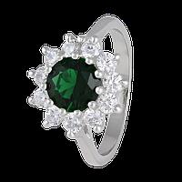 Серебряное кольцо с зеленым фианитом Мишель 000025491 19.5 размера