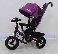 Детский трехколесный велосипед T-362 Camaro с фарой и надувными колесами, Фиолетовый