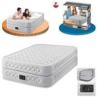 Надувная велюр кровать Intex со встроенным насосом