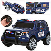 Детский электромобиль Джип M 3259 EBLR-4 POLICE, кожаное сиденье, мягкие колеса и ГРОМКОГОВОРИТЕЛЬ