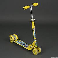 """Самокат 3207 / 779-53 жёлтый """"Миньоны"""" (8) 4 колеса PVC, свет, d-9.5см., металлический, в кор-ке"""