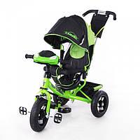 Детский трехколесный велосипед T-362 Camaro с фарой и надувными колесами, Зеленый