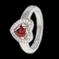 Серебряное кольцо с красным фианитом Love you      000025498 18 размера