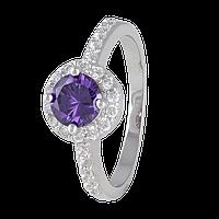 Серебряное кольцо с фиолетовым фианитом Лорелей 000025499 19 размера