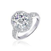 Серебряное кольцо с цирконием Аглая 000025535 18.5 размера